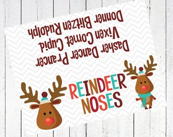 Christmas Candy Bag Toppers Printable Paper Crafting Rh Etsy Com Free Reindeer Noses Template