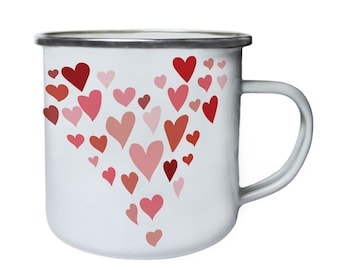 Heart made out of hearts ,Tin, Enamel 10oz Mug w123e