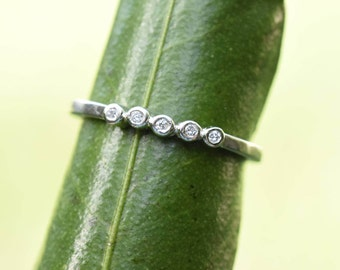 Diamond ring, diamond wedding band, 5 diamond eternity ring, five diamond ring, white gold palladium, ladies wedder, bezel dot pebble ring