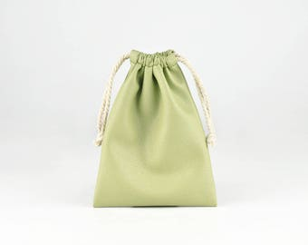 Soft PU Leather Drawstring Bag, Small String Pouch, Jewelry Bag, Storage Bag, Gift Bags, Green