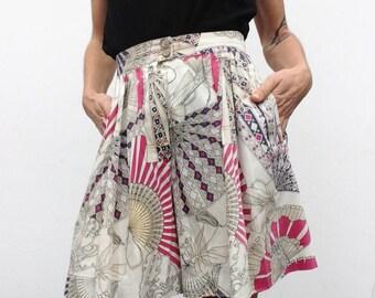 Laurèl   Vintage   1980s   Bermuda shorts   Skort   Baroque pattern/fans   Cotton   High waist