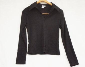 Vintage 90s Women's Black Knit Top By Nexxes U.S.A