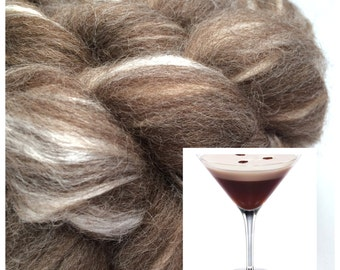 Espresso Martini - Custom blended fibre for spinning/felting - natural coloured BFL, tussah silk, 100g