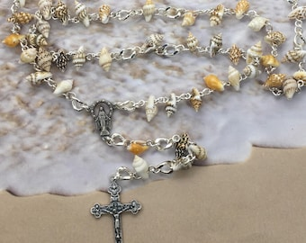 Seashell rosary, unique rosary, beach rosary, catholic rosary, rosary gift, womens rosary, Mothers Day gift, Girl Catholic rosary, rosary