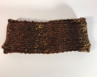 Brown Ear Warmer with Border// Gifts for Her