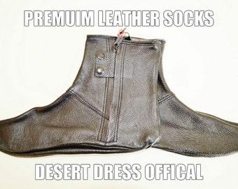 Leather Socks Khuffs Footwear Shoes Feet Khuffain Men Muslim Islam Desert Dress Black Arab Wudu Prayer