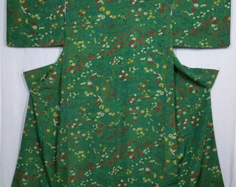 Women's vintage, kimono -Green chirimen crepe silk with floral and stream pattern