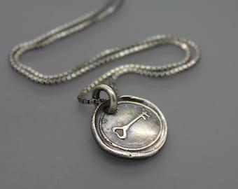Wax Seal Necklace, Wax Seal Jewelry, Key Jewelry, Silver Key, Love Necklace, Skeleton Key, Heart Lock, Key Necklace, Key Charm