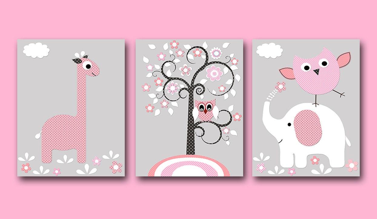 elephant giraffe baby girl nursery art print children wall art. Black Bedroom Furniture Sets. Home Design Ideas