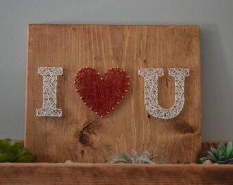 READY to SHIP I <3 U String Art, Anniversary Gift String Art, Love String Art,  Letter String Art, Nursery Decor, I love you gift, christmas