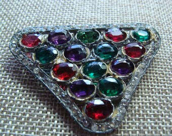 Vintage Old Paste Dress Clip, Triangular in shape and multi colored stones