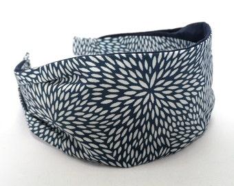 Kaleidoscope, navy, fabric headband, women's headband, gift for her, aliceband