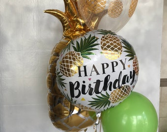 Pineapple delight balloon arrangement Pineapple printed balloon birthday