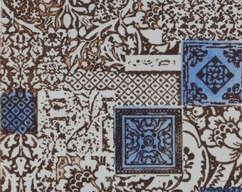 """Burnt sienna and blue """"fabric pattern"""" photo etching"""