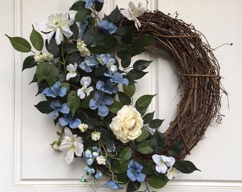Blue + White | Year Round Wreath | Fall Wreath | Greenery Wreath | Grapevine Wreath | Front Door Wreath