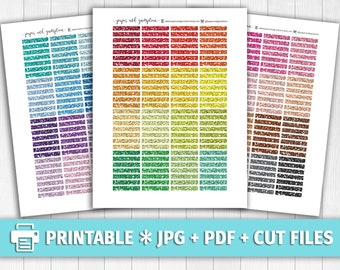 GLITTER HEADERS ASSORTMENT Printable Planner Stickers/for use with Erin Condren/Multicolor Functional Stickers Happy Planner School Summer