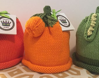 Eat Your Veggies Newborn Baby Hats