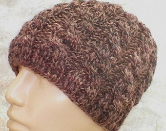 Cable knit beanie hat, taupe brown tweed, beanie hat, brown hat, winter hat, toque, mens womens knit hat, chemo cap, mens brown cable hat
