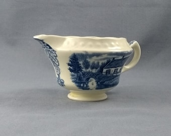 Vintage Blue and White Earthenware Sauce Boat/Creamer Made by Societe Ceramique Maestricht of Holland with the Boerenhoeve/Dutch Farm Design