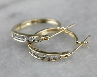 Diamond Hoop Earrings in Yellow Gold, Small Hoop Earrings, Bridal Jewelry H75CCNQJ-P