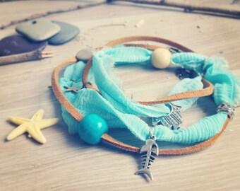Beach Sari Silk Wrap Anklet. Hamsa Hand. Multiway 3 in 1 Necklace Bracelet Anklet Boho Beach Jewelry. Aquamarine Sari Silk. Beach Feeling