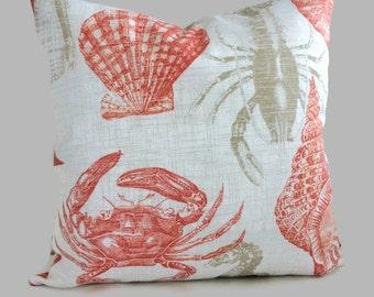 Coastal Pillows Outdoor Sealife Coral Orange Beige Brown Throw Pillow Cushion Cover Ocean Shell Beach Decor Lumbar Accent Toss // All Sizes
