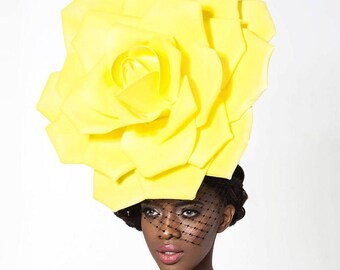 Yellow rose headpiece, Kentucky derby hat, couture hat, melbourne cup hats