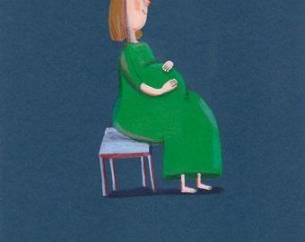 waiting to you  Original illustration, wall decor, kids room , nursery decor, mother, baby