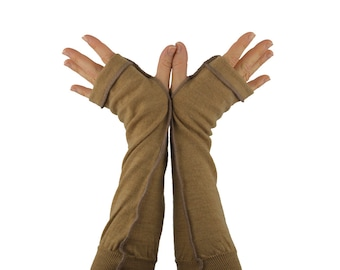 Arm Warmers in Fawn Beige Merino - Upcycled Felted Wool - Fingerless Gloves