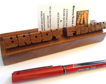 Walnut Wood Desk Name and Business Card Holder, Custom Carved to Order