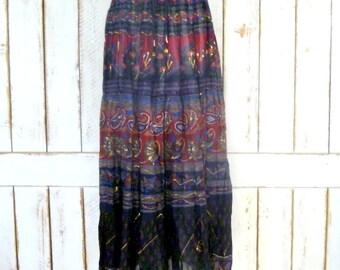 Black/red/blue tribal  floral Indian print boho crinkle vintage maxi skirt/long gauzy boho gypsy festival skirt/20 W