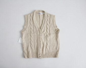 beige sweater vest | cable knit vest | women's large knit vest