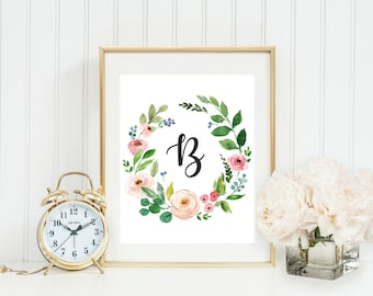 Nursery Letter Art Monogram Printable Nursery Wall Decor Watercolor Floral Printable Baby Girl Initial Print Custom Baby Monogram Print