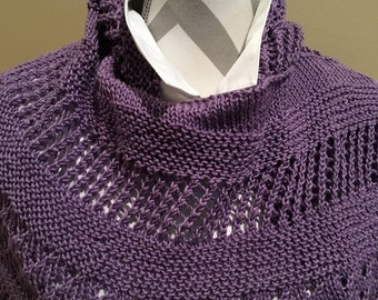 Spring lilac hand knitted shawl