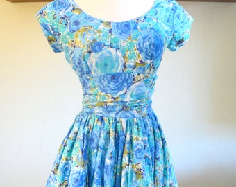 Vintage 1960s Pixie of California Dress, Floral Party Dress with Bubble Skirt, Blue Roses