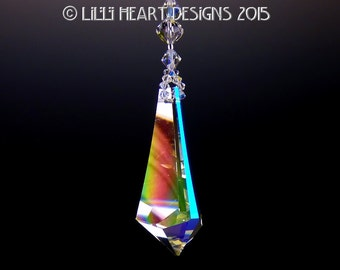 m/w Swarovski Crystal RARE Discontinued AURORA BOREALIS 50mm 2 Inch Triangle Logo Etched Prism Rainbow Maker by Lilli Heart Designs