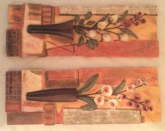 Set of 2 S. Vassi Leva 3 D Flower Vase Wall Plaque Approx: 3.3/4 X 9.3/4