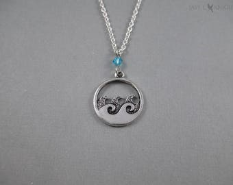 Waves Charm Necklace - Silver