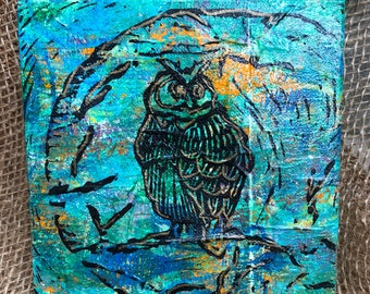 "Mixed Media Owl Monoprint 6"" canvas Wall art. Mix and match, buy one get one FREE (SKU 1002)"