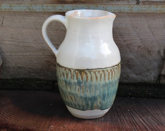reserved-ceramic pitcher, wine pitcher, pottery pitcher, handmade pitcher, stoneware pitcher