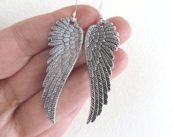 Angels Silver Earrings Angel Wing Earrings Angel Earrings Religious Earrings Bird Wing Earrings Wing Earring Christmas Gift Stocking Stuffer