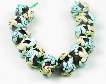 14mm Lampwork Handmade Beads Primrose Flower Glass Beads Double Sided 4pcs