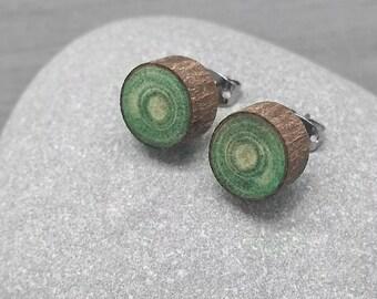Vert bois tranche boucles d'oreilles - Boucles d'oreilles écorce - bois Faux Plug Fake calibre poste boucles d'oreille avec acier chirurgical
