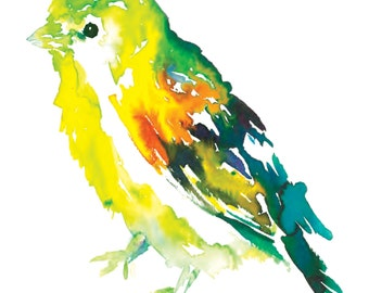 "Print of Original Watercolor Painting, Titled: ""Will the Wee Bird"" by Jessica Buhman 8 x 10 Yellow Green Orange Turquoise"