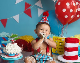 Boy Cake Smash Outfit, Dr. Suess Cake Smash, Cat in the Hat Cake Smash Outfit, Boys 1st Birthday, Birthday Outfit, Boys Birthday