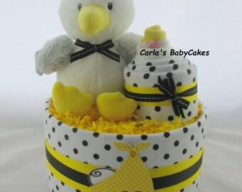 Stork diaper cake | Neutral diaper cake | Baby shower decoration | Baby diaper cake | Baby shower gift | Unique Baby gift | New mom gift