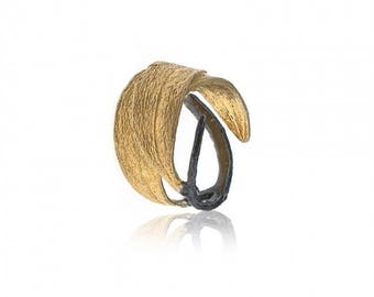 Handmade Gold Plated Olive Branch Ring