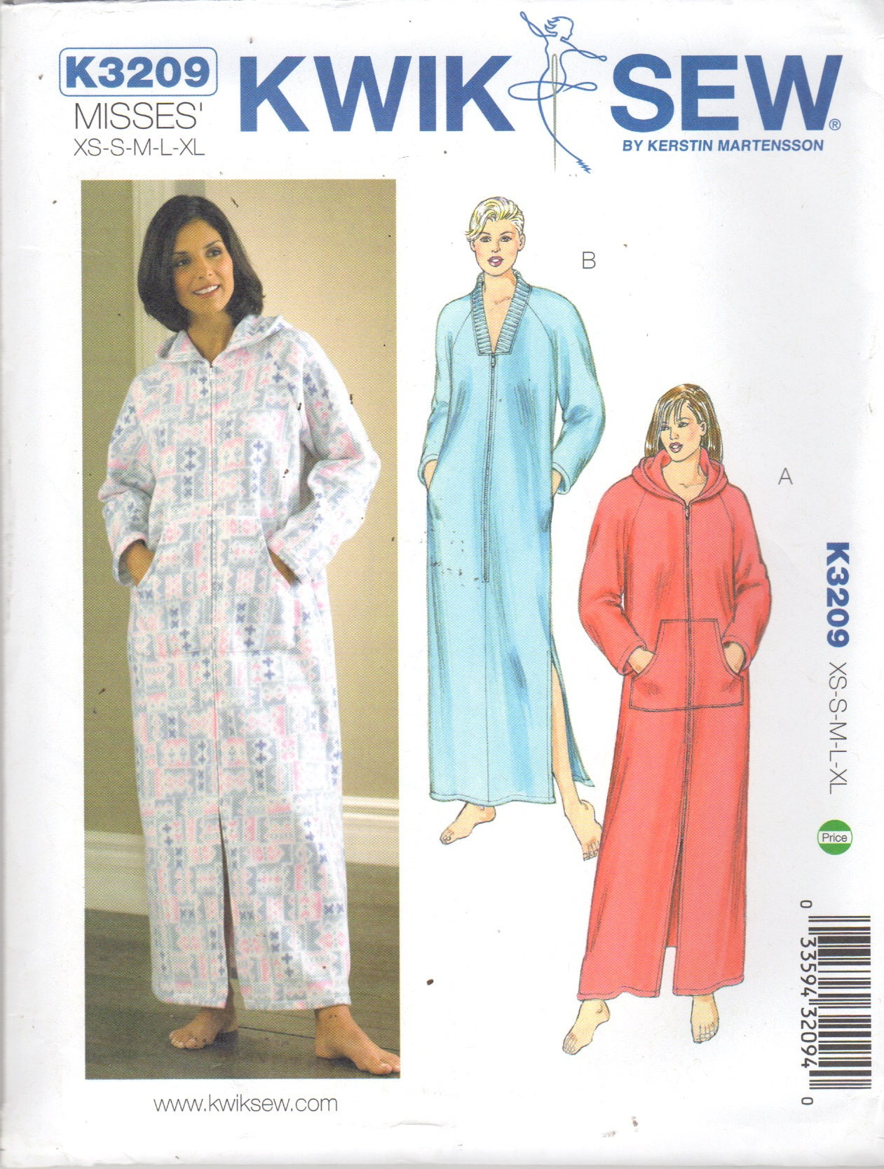 Kwik sew 3209 misses zip front robe pattern optional hood zoom jeuxipadfo Gallery
