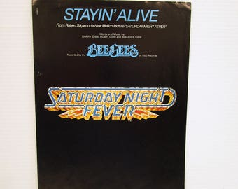SATURDAY NIGHT FEVER Sheet Music, Stayin' Alive piano music, Bee Gees sheet music, vintage piano music, vintage paper ephemera, piano music
