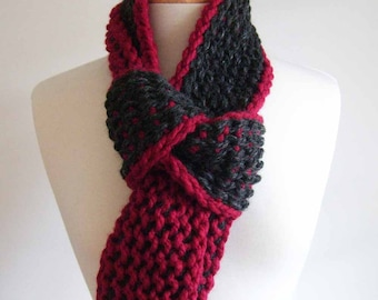 cranberry and charcoal chunky twist loop scarf - tunisian crochet
